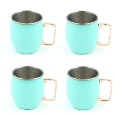 20 oz. Hammered Stainless Steel Turquoise Moscow Mule Mugs (4-Pack)