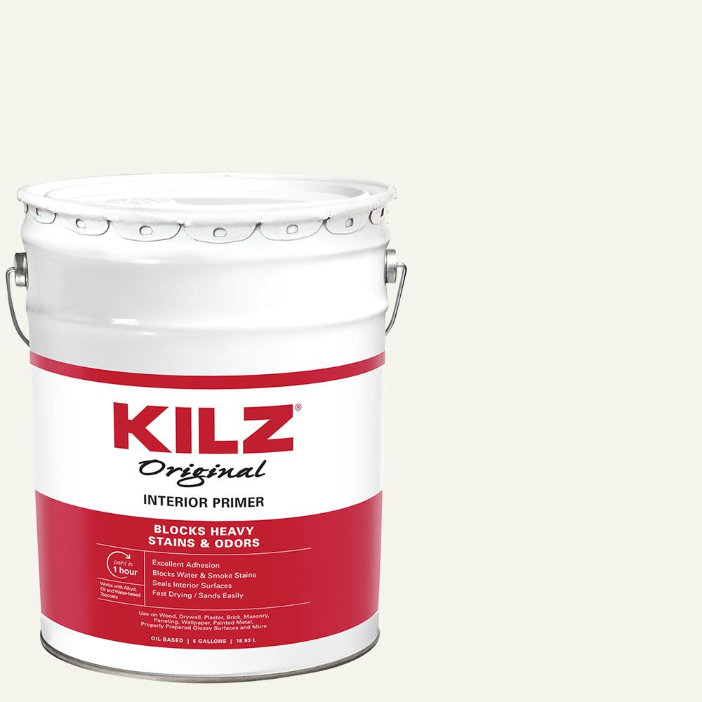 KILZ Original 5 Gal. White Oil-Based Interior Sealer, Primer, and Stain Blocker