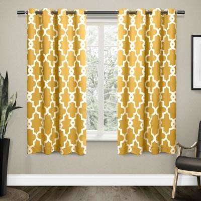 Ironwork 52 in. W x 63 in. L Woven Blackout Grommet Top Curtain Panel in Sundress Yellow (2 Panels)