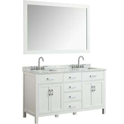 Hampton 61 in. Bath Vanity in White with Marble Vanity Top in Carrara White with White Basin and Mirror