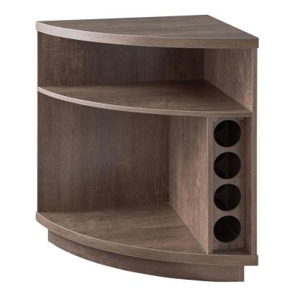 Reuleaux Walnut Oak Brown Wooden Corner Cabinet with 2 Open Shelves and 1 Wine Rack
