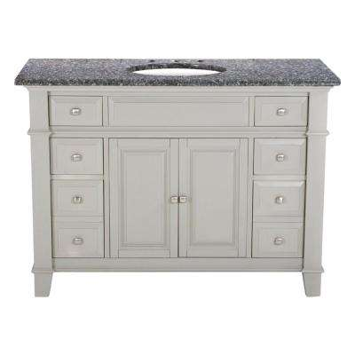 48 in. W x 23 in. D Solid Hardwood Single Vanity in Dove Gray with Solid Granite Top in Leopard