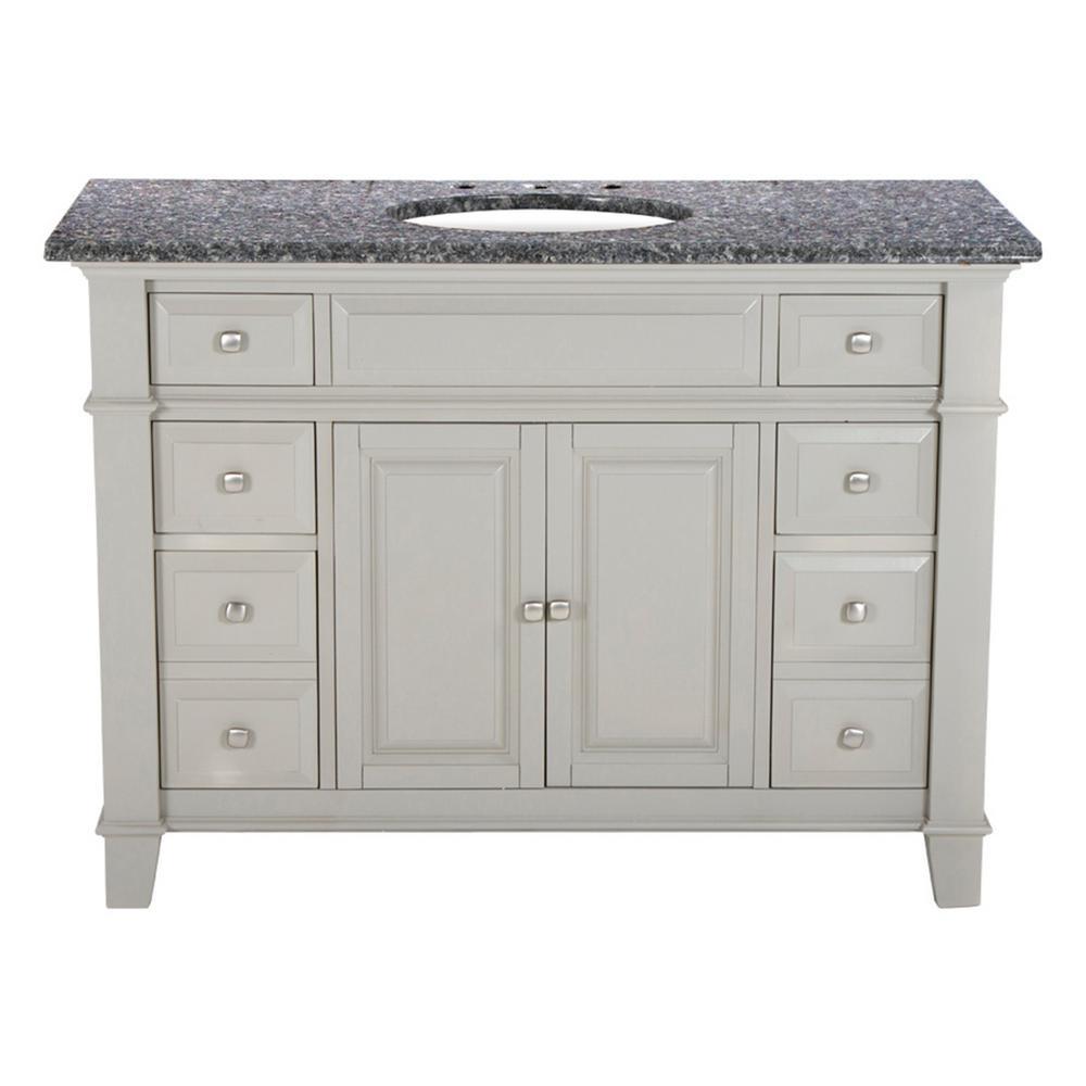 Hardwood Single Vanity Dove Gray Granite Top Leopard