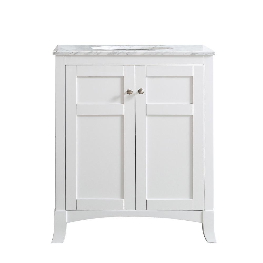 Arezzo 30 in. W x 22 in. D x 36 in. H Vanity in White with Marble Vanity Top in Carrara White with Basin