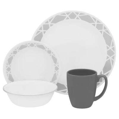 16-Piece Patterned Modena Glass Dinnerware Set (Service for 4)