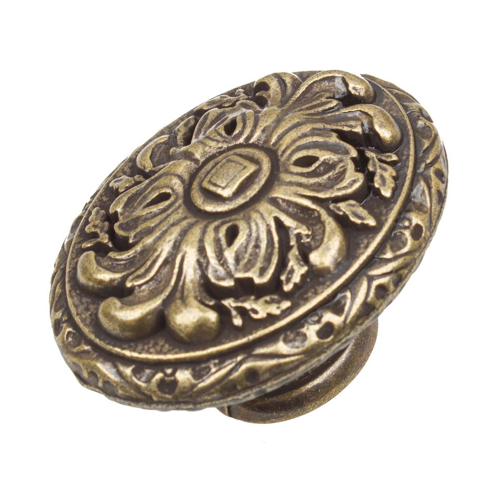 Gliderite 2 in dia antique brass old world ornate oval cabinet knob 10 pack 5710 ab 10 the - Antique brass cabinet knobs ...