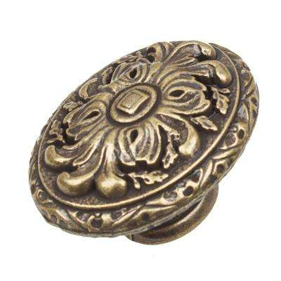 2 in. Dia Antique Brass Old World Ornate Oval Cabinet Knob (10-Pack)