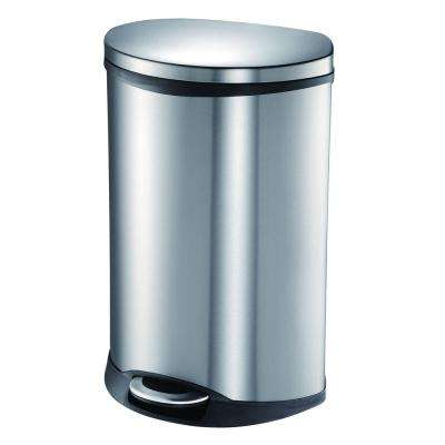 13 Gal. Shell Trash Can with Soft Close in Stainless