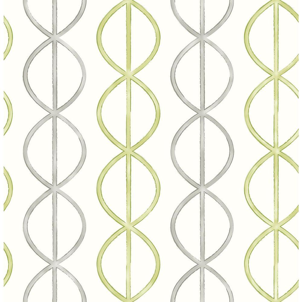 Banning Stripe Green Geometric Wallpaper Sample