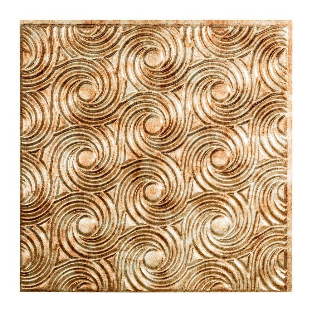 Cyclone - 2 ft. x 2 ft. Glue-up Ceiling Tile in Bermuda Bronze