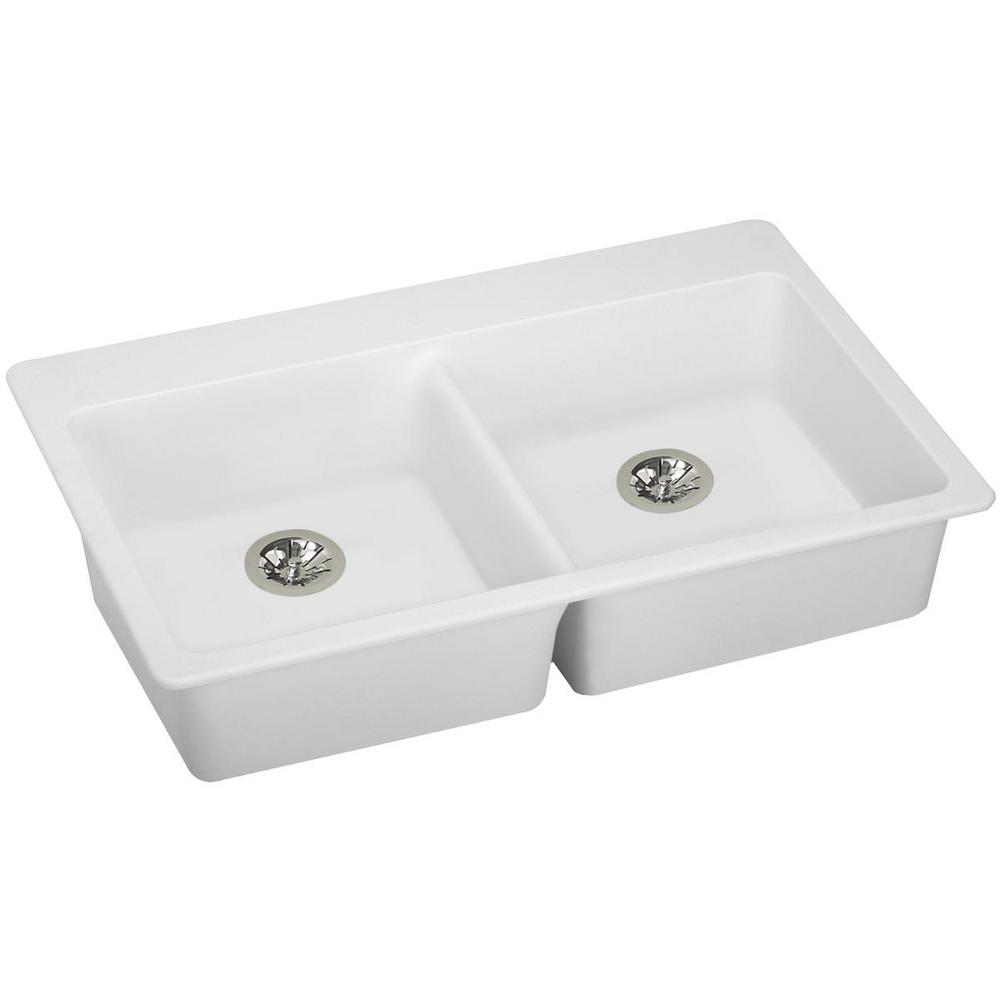 Ada Kitchen Sink: Elkay Quartz Classic Perfect Drain Drop-In 33 In. Double