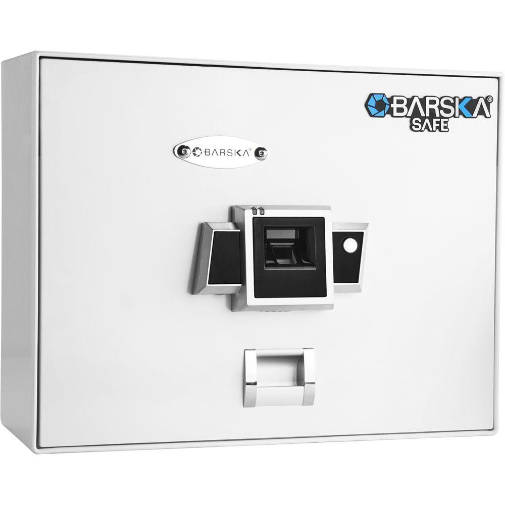 BARSKA 0.23 cu. ft. Top Opening Safe with Biometric Lock, White