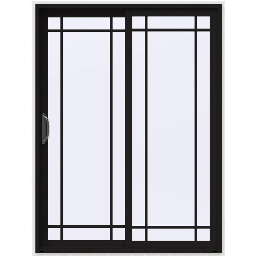 60 in. x 80 in. V-4500 Black Prehung Left-Hand Sliding 9 Lite Vinyl Patio Door with White Interior