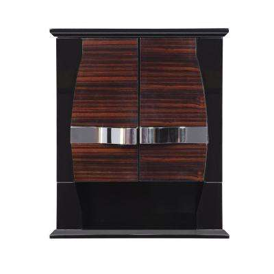 Natasha 22 in. Birch Gloss Wall Cabinet in Ebony Black
