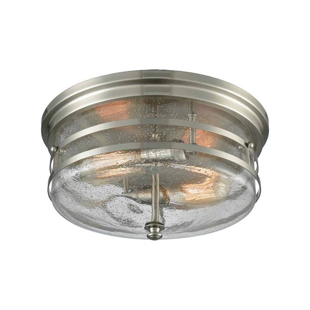Port O' Connor 2-Light Satin Nickel with Seedy Glass Flushmount