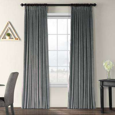 Blackout Signature Natural Grey Doublewide Blackout Velvet Curtain - 100 in. W x 84 in. L (1 Panel)