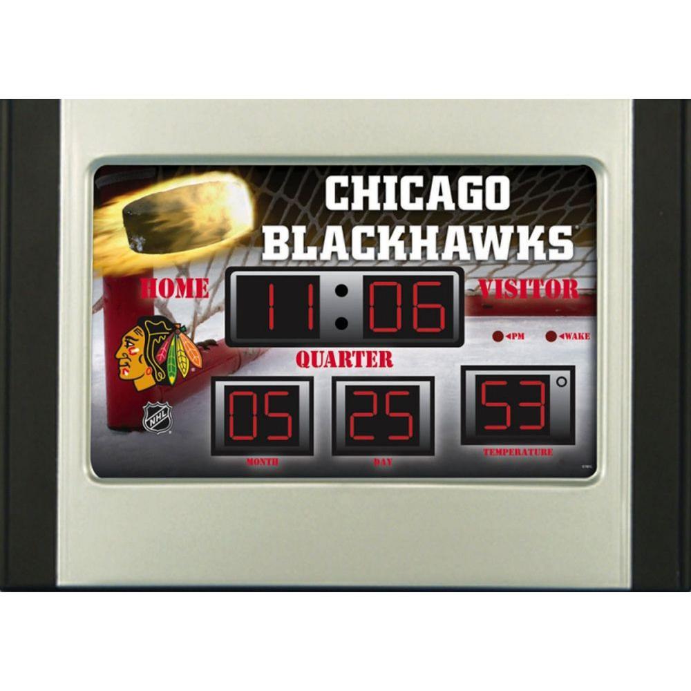 null Chicago Blackhawks 6.5 in. x 9 in. Scoreboard Alarm Clock with Temperature