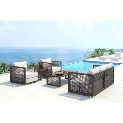 Coronado Cocoa Outdoor Sunproof Fabric Lounge Chair with Light Gray Cushion