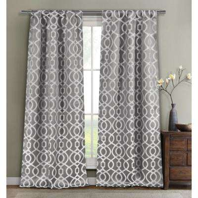 Geometric Silver Polyester Room Darkening Pole Top Window Curtain 36 in. W x 84 in. L (2-Pack)
