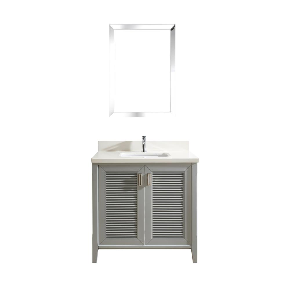 Studio Bathe Aurora 36 in. W x 22 in. D Vanity in Oxford Gray with Quartz Vanity Top in White with White Basin and Mirror