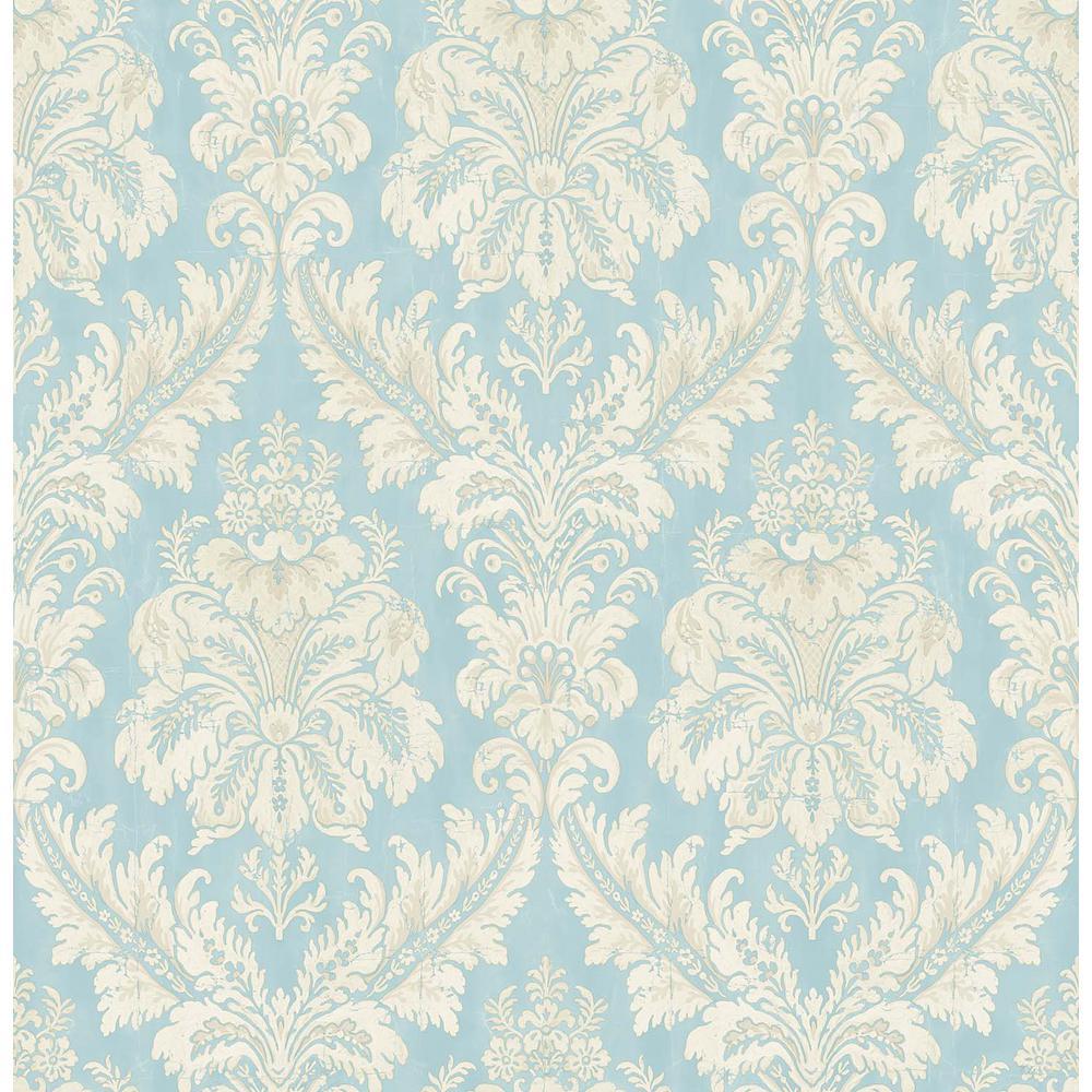 Windsor Blue Damask Wallpaper