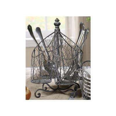 7.25 in. W x 7.25 in. D x 9.75 in. H Silver Wire Utensil Holder