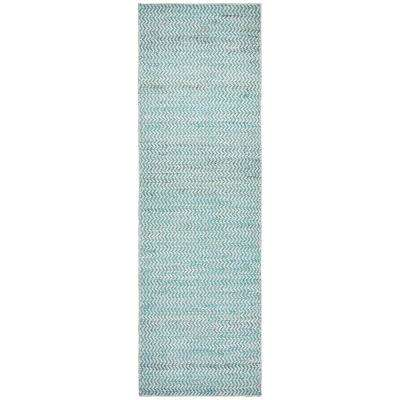 Ellington Natural/Teal 2 ft. 6 in. x 8 ft. Runner