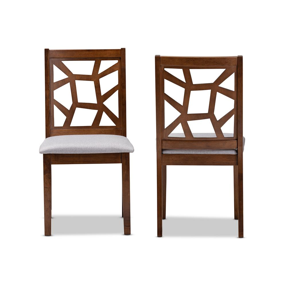 Abilene Gray and Walnut Brown Fabric Dining Chair (Set of 2)