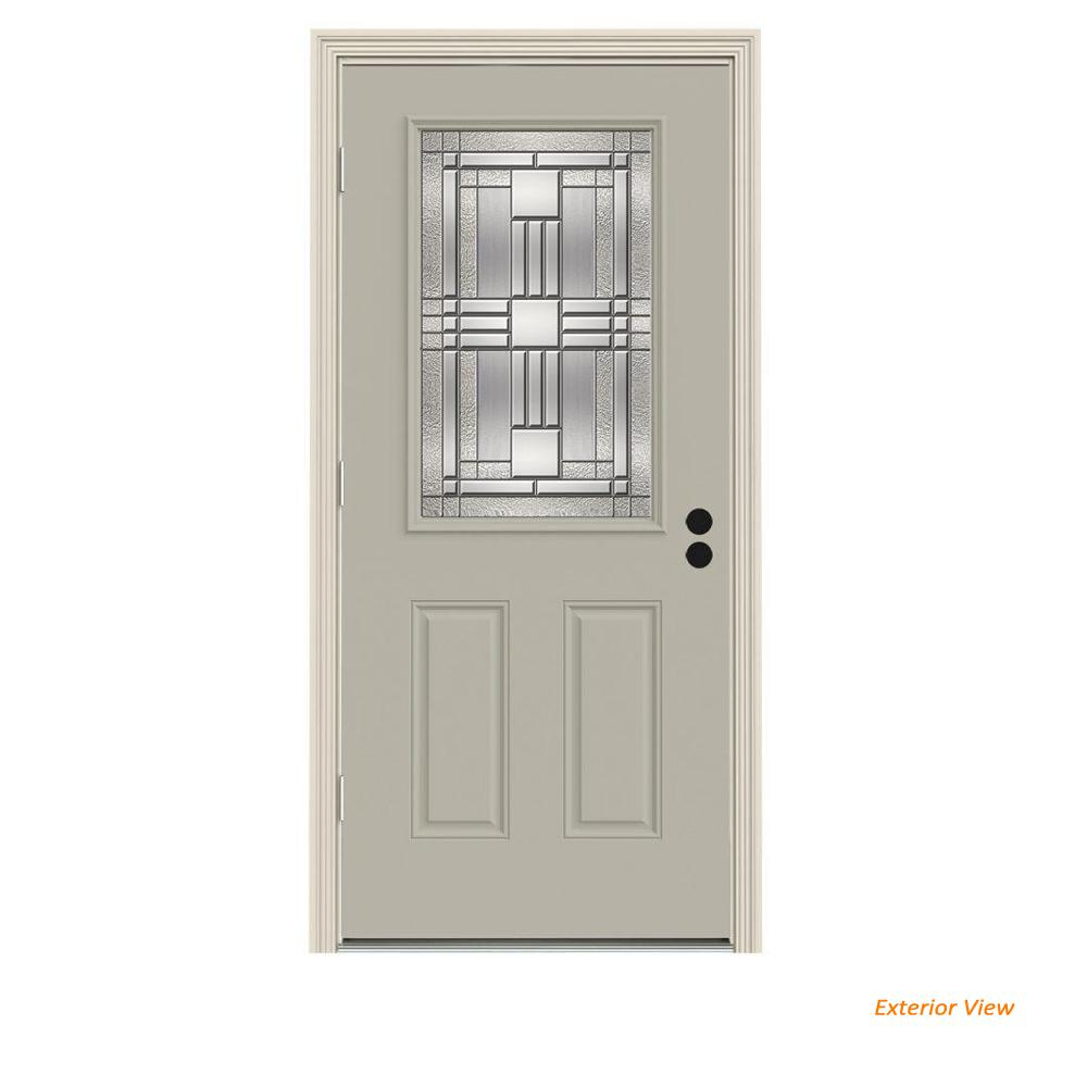 JELD-WEN 36 in. x 80 in. 1/2 Lite Cordova Desert Sand Painted Steel Prehung Right-Hand Outswing Front Door w/Brickmould