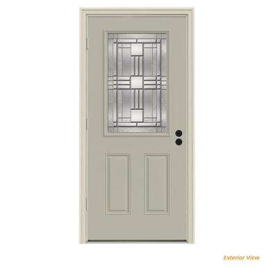 36 in. x 80 in. 1/2 Lite Cordova Desert Sand Painted Steel Prehung Right-Hand Outswing Front Door w/Brickmould