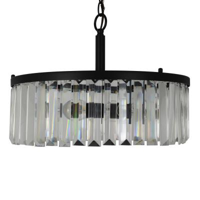 Aniston Black 4-Light Steel and Crystal Pendant