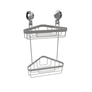 Lavish Home 2-Tier Corner Shower Caddy with Twist Lock Suction Cups in Stainless Steel by Lavish Home