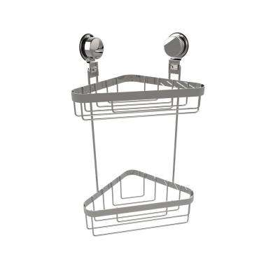 2-Tier Corner Shower Caddy with Twist Lock Suction Cups in Stainless Steel