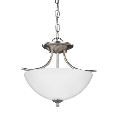 Bannock 2-Light Brushed Nickel Semi-Flushmount Convertible Pendant