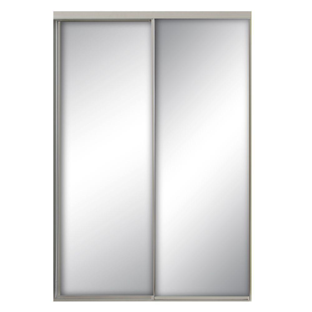 47 in. x 80.5 in. Savoy White Painted Steel Frame Mirrored Interior Sliding Door