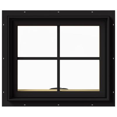 24 in. x 20 in. W-2500 Series Black Painted Clad Wood Awning Window w/ Natural Interior and Screen