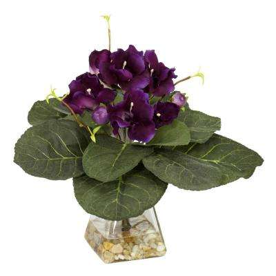 12 in. H Violet Gloxina with Vase Silk Plant