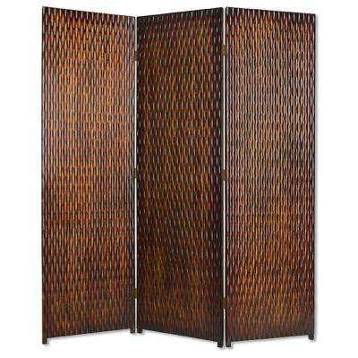 DANYL 6 ft. Brown 3-Panel Room Divider