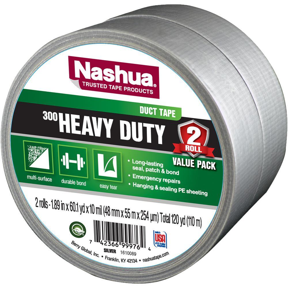 1.89 in. x 120 yd. 300 Heavy-Duty Duct Tape in Silver (2-Pack)