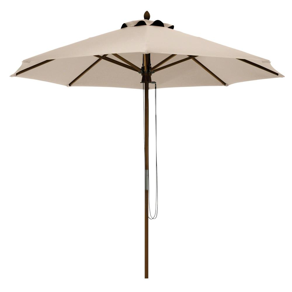 Montlake 9 ft. Bamboo Market Patio Umbrella in Antique Beige