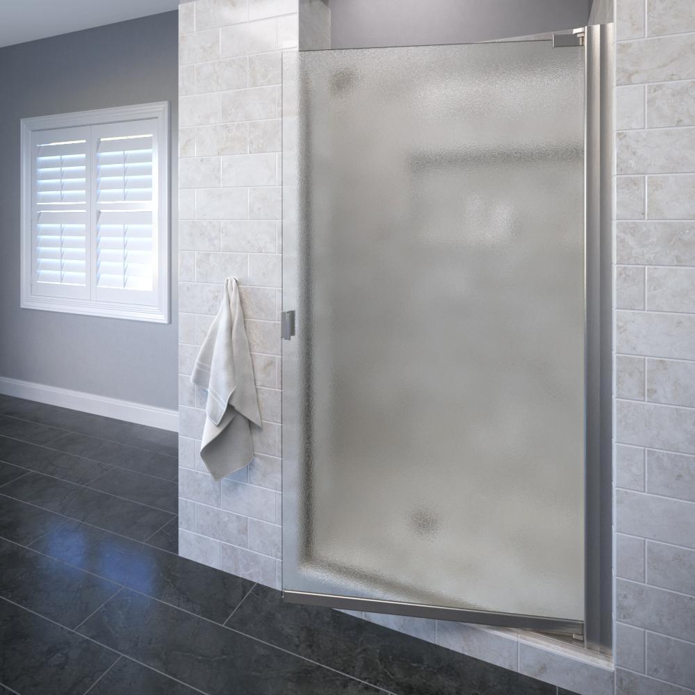 Basco Classic 30-1/8 in. x 66 in. Semi-Frameless Pivot Shower Door in Brushed Nickel