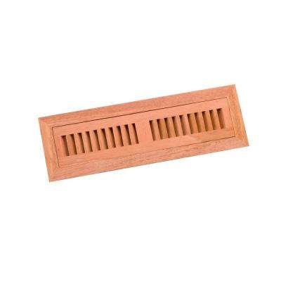 2.25 in. x 12 in. Wood Brazilian Cherry Unfinished Flush Mount Vent Register