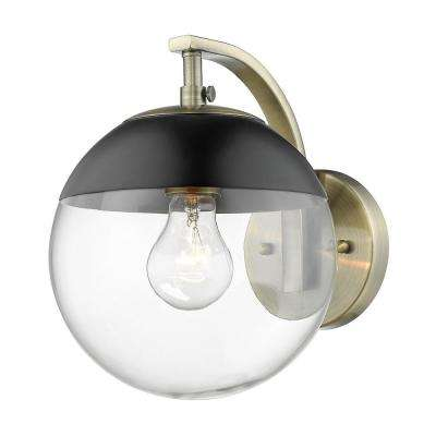 Dixon 1-Light Aged Brass with Clear Glass and Black Cap Sconce