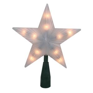7 in. Lighted Frosted 5-Point Star Christmas Tree Topper with Clear Lights