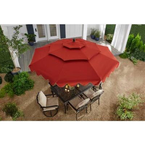 10 ft. Aluminum Market Auto Tilt Pagoda Outdoor Patio Umbrella in Chili Red
