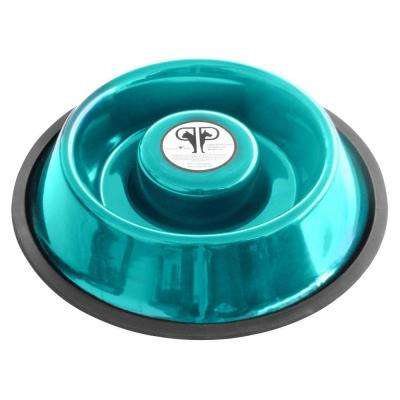 Large Stainless Steel Slow Eating Bowl in Teal