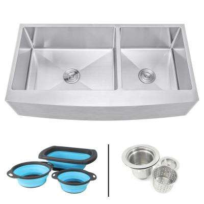 Farmhouse Apron 16-Gauge Stainless Steel 42 in. Curve Front 60/40 Offset Double Bowl Kitchen Sink w Silicone Colanders