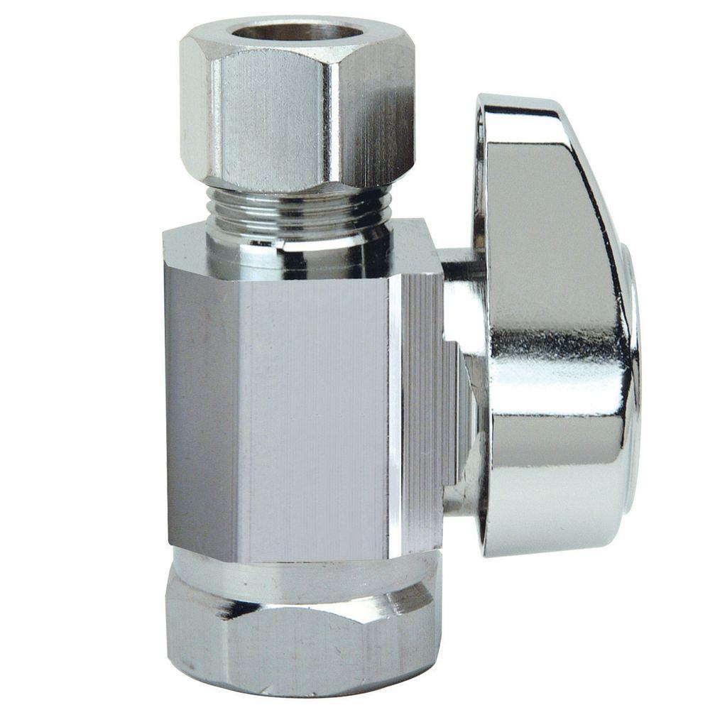 BrassCraft 3/8 in. FIP Inlet x 3/8 in. O.D. Compression Outlet 1/4-Turn Straight Valve
