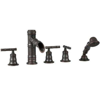 Bamboo 2-Handle Roman Tub Faucet with Diverter in Heritage Bronze