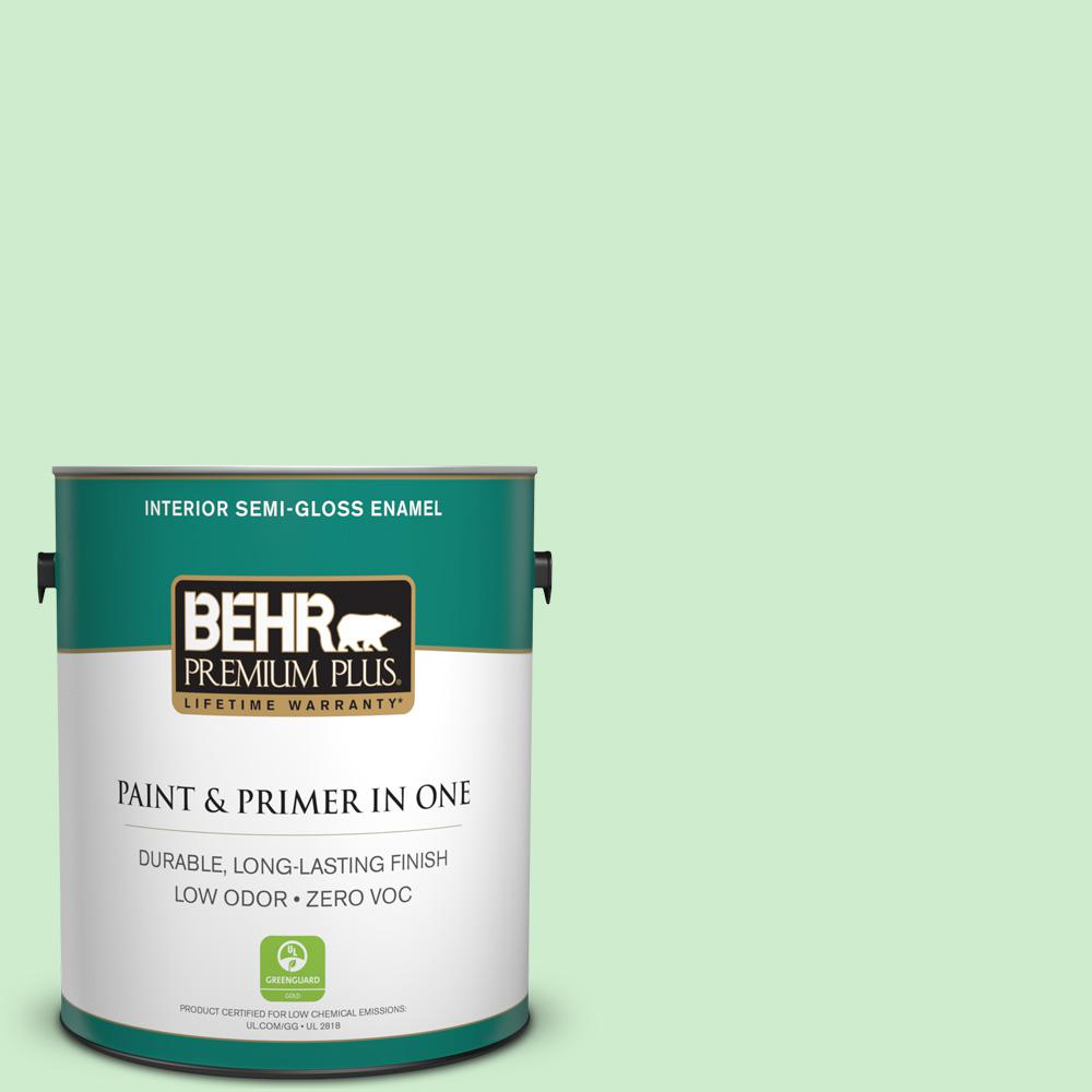 BEHR Premium Plus 1 gal. #450A-2 Kiwi Squeeze Semi-Gloss Enamel Zero VOC Interior Paint and Primer in One